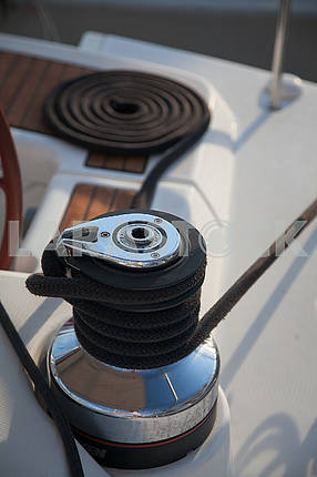 Winch without rope on a yacht