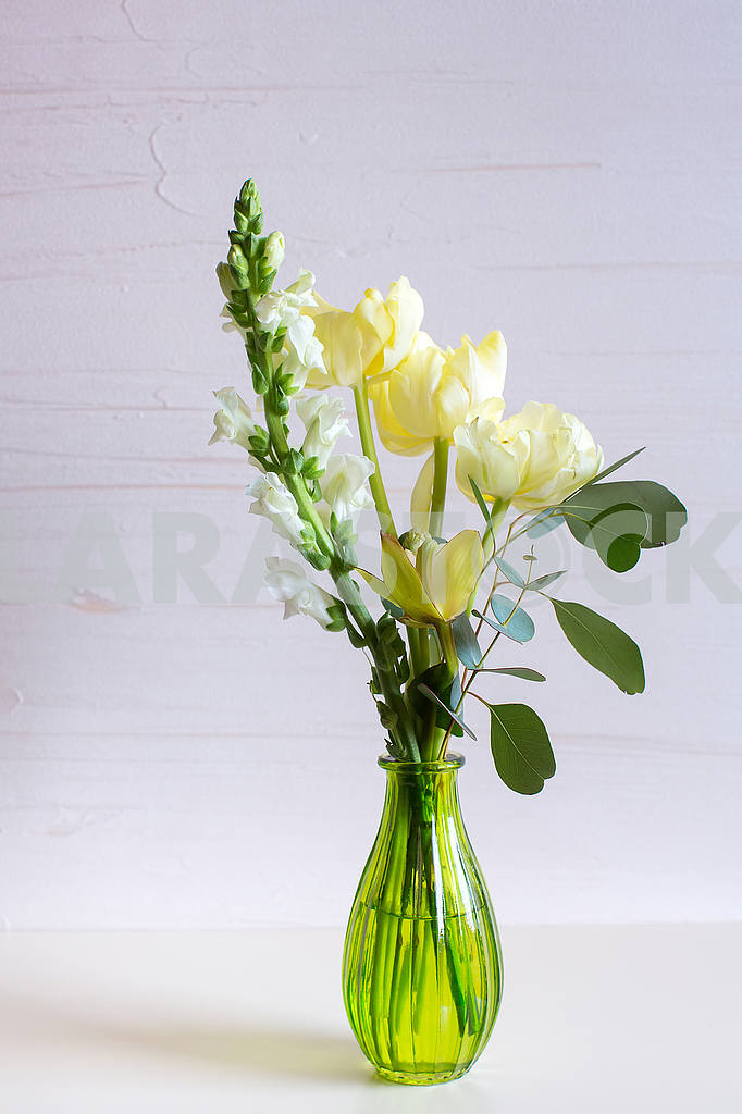 Orchid,tulip,hyacinth flower composition in glass vases. — Image 53274