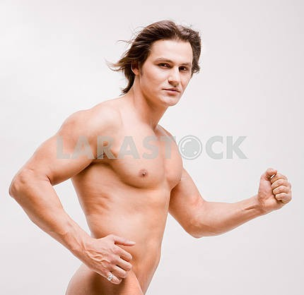 Muscular sexy man with naked torso