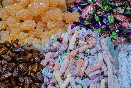 Lukum, dried dates and Tajik sugar in the shop window