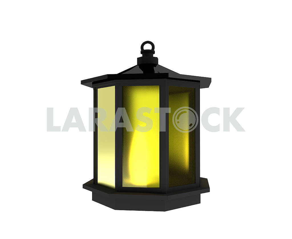 Black lantern with light on isolated white in 3D render image — Image 53485