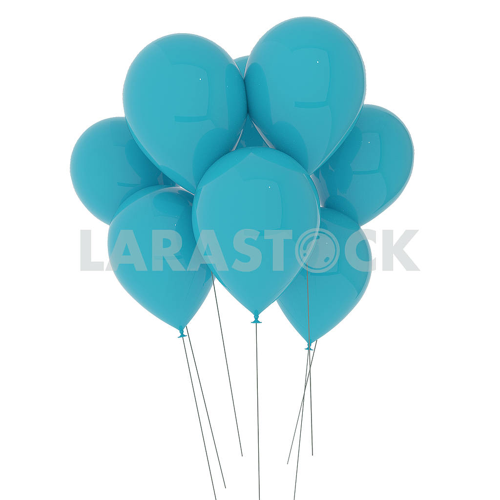 Blue balloons on isolated white in 3D illustration — Image 53488