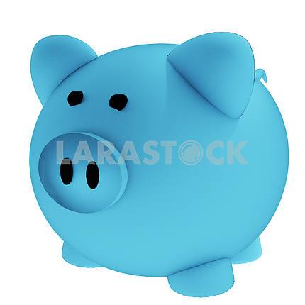Blue piggy bank for savings in 3D render image