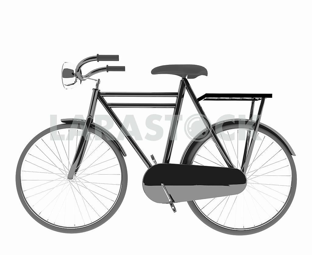 Classic black bike on isolated white — Image 53491
