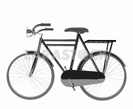 Classic black bike on isolated white