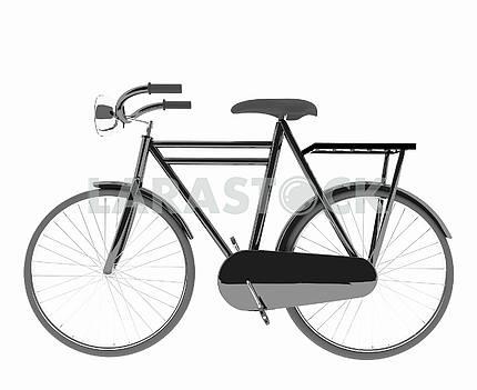 classic black bike on isolated white