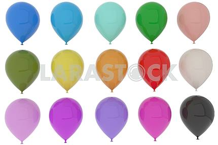 Colorful balloons fun for party in 3D rendering