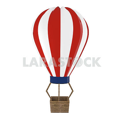 Hot air balloon in red and white on isolated white in 3D illustration