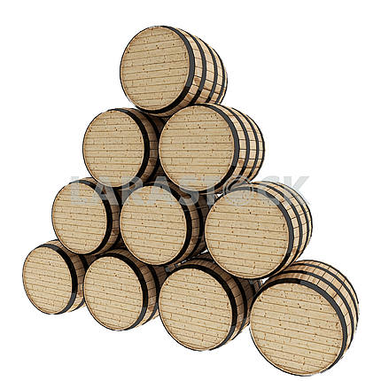 oak barrels on isolated white in 3D illustration