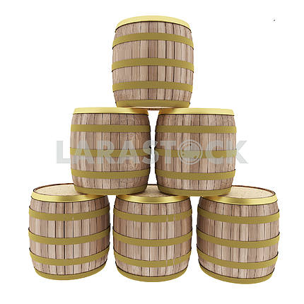 oak barrels set on isolated white in 3D illustration