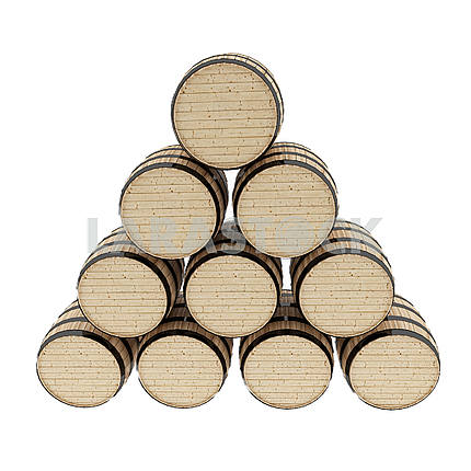 Oak barrels set on isolated white in 3D rendering