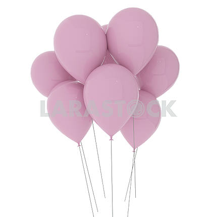 pink balloons on isolated white in 3D illustration