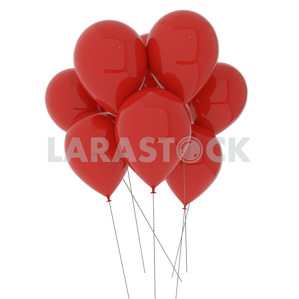 Red balloons on isolated white in 3D illustration — Image 53502
