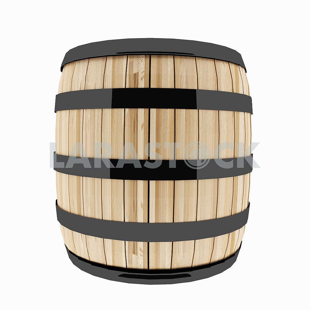 Single oak barrel on isolated white in 3D illustration — Image 53504