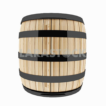 single oak barrel on isolated white in 3D illustration
