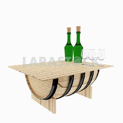 Table oak barrel for bar on isolated white on 3D rendering
