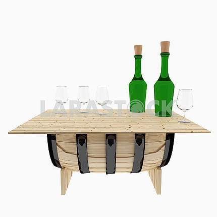 table oak barrel on isolated white on 3D rendering