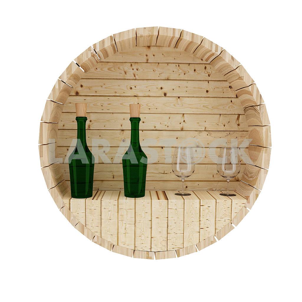 Wine oak barrel decoration in 3D render image — Image 53511