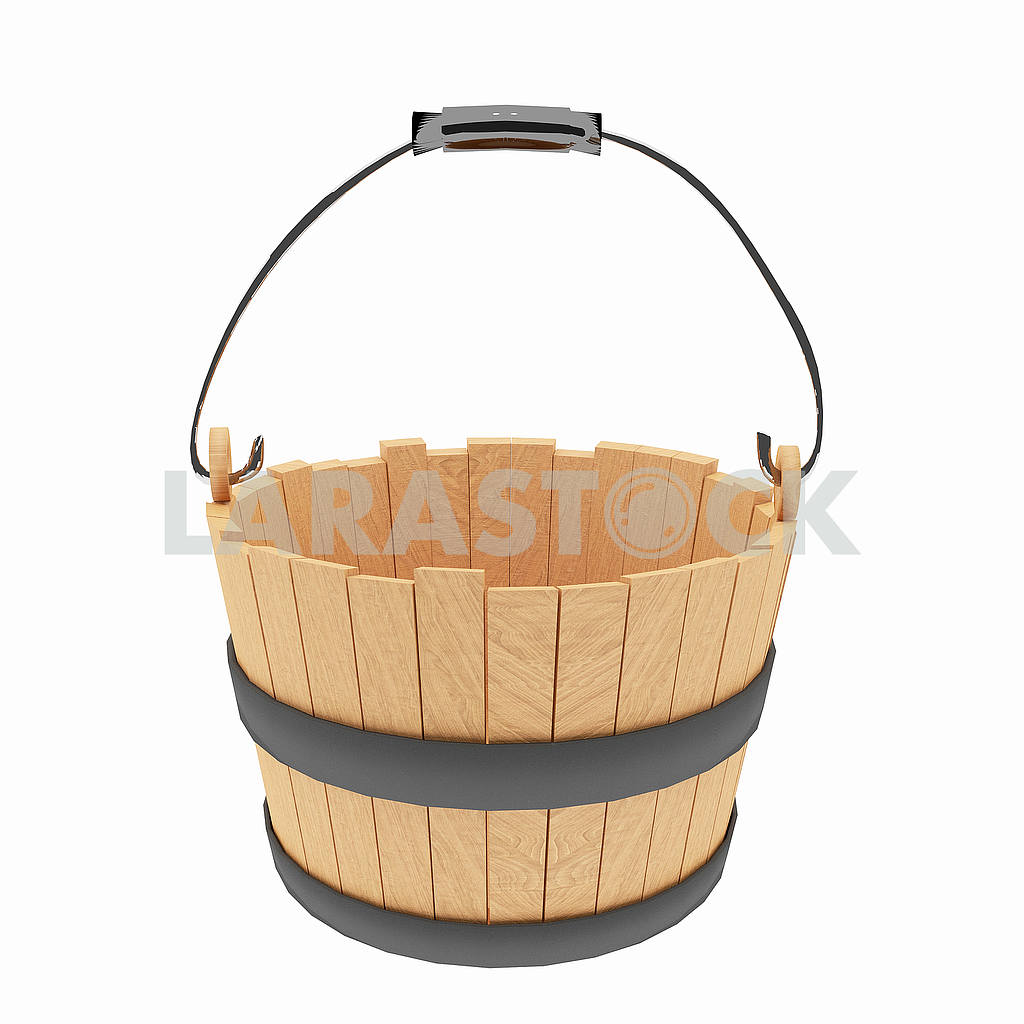 Wood bucket on isolated white in 3D illustration — Image 53514