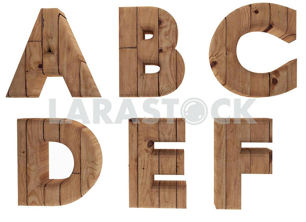 Wooden alphabet letters english language A B C D E F in 3D render image — Image 53515