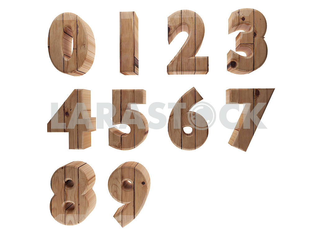 Wooden number in 3D render image — Image 53520