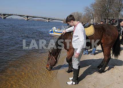 The horse drinks water from the Dnieper