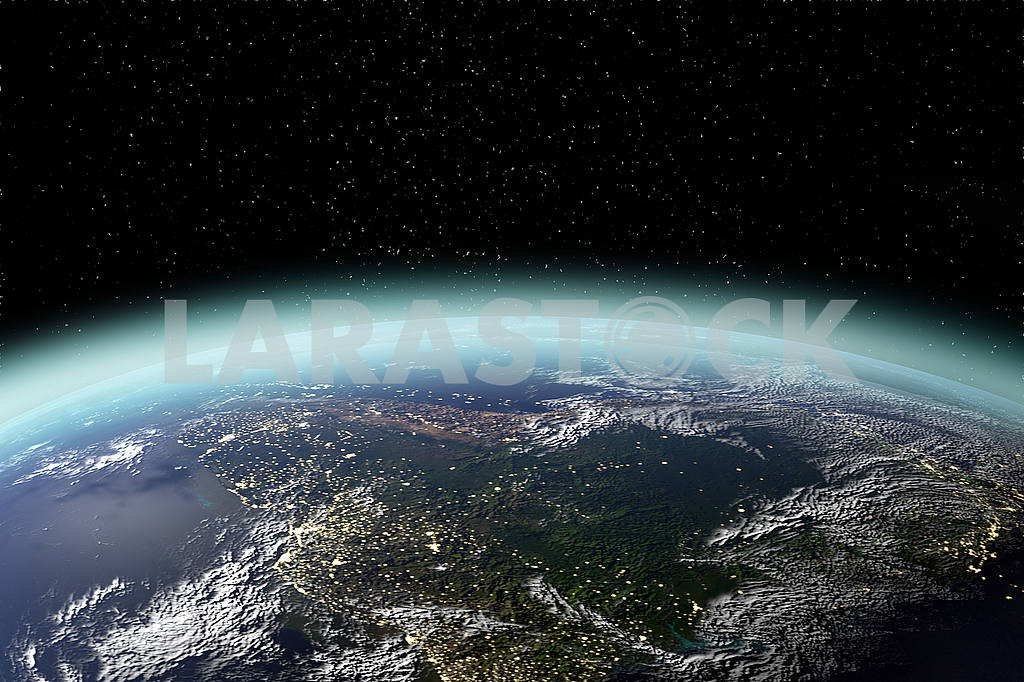 View of planet earth from space in 3D rendering. Elements of this image furnished by NASA — Image 53612