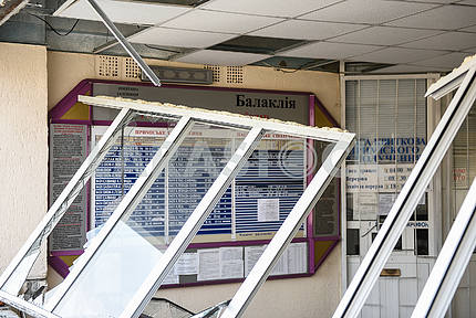 Broken windows at the train station in Balakley