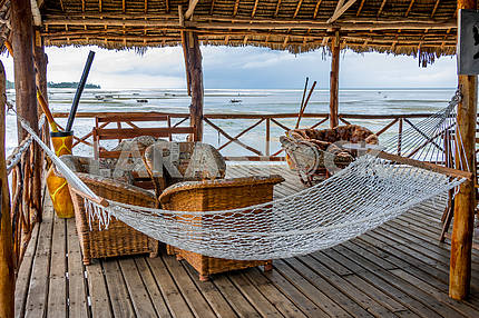Hammock on the terrace on the beach in Zanzibar