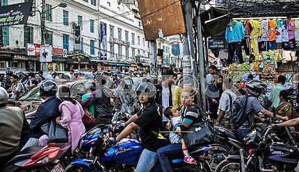 Traffic jams in the streets of Kathmandu