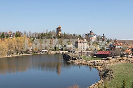 Pond in a landscape park