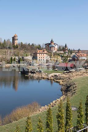 Landscaped park and pond