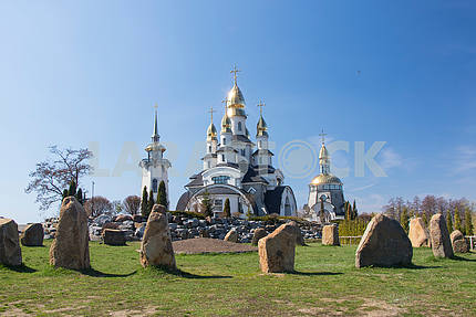 Landscaped park and church