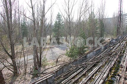Tribune of the stadium in Pripyat