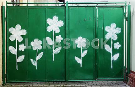 Old green metal gates