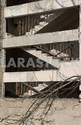 A staircase in a house in Pripyat