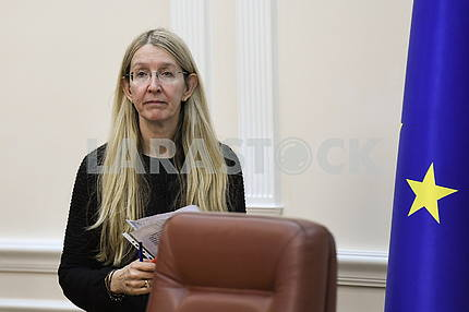 Uliana Suprun at a meeting of the Cabinet of Ministers