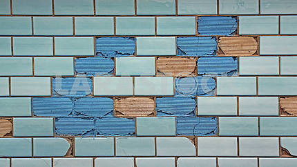 Partially destroyed blue tiles