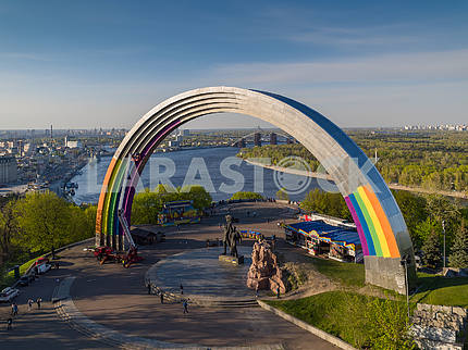 "Art installation ""Arch of Diversity"" on the Arch of Friendship of Peoples"