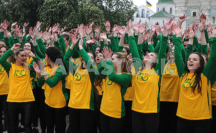 Students during a flash mob