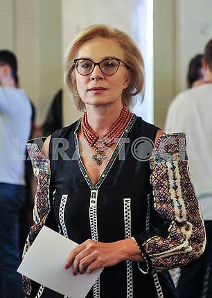 Lyudmila Denisova in embroidery