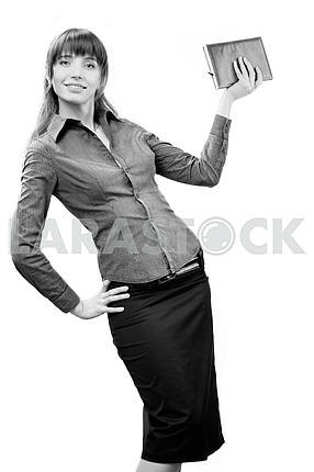 Young smiling successful business woman. Over white background