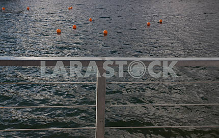 Ten pink buoys