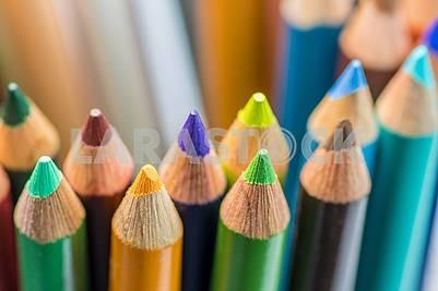 Цветные карандаши в договоренности на белом фоне