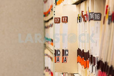 Medical Records folder archive organized in the file cabinet all