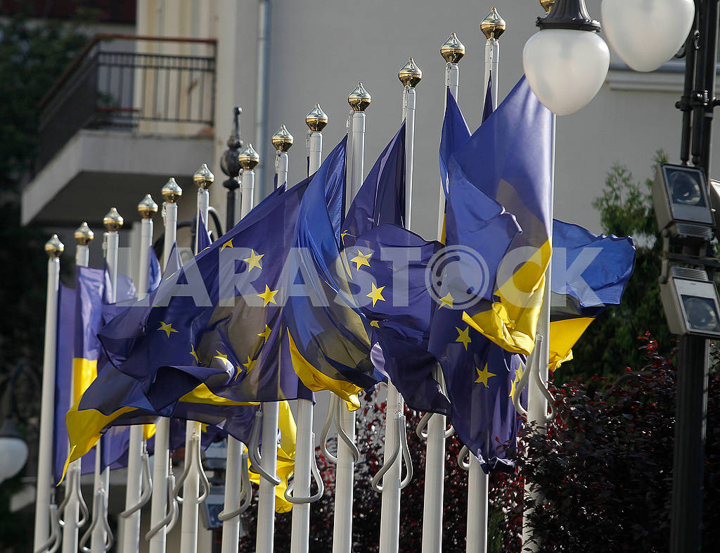 Flags of Ukraine and the European Union — Image 56972