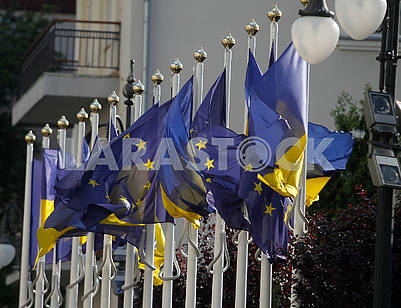 Flags of Ukraine and the European Union