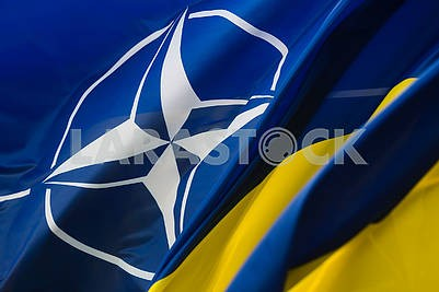 Flags of NATO and Ukraine