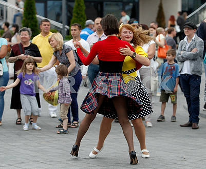 Girls are dancing waltz