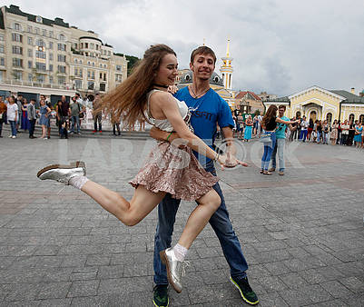 Young couple dancing waltz